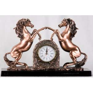 Bronze Twin Horse with Clock Sculpture